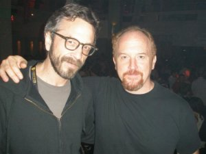 Louis-CK-and-Marc-Maron-hug-it-out-in-after-episode-of-Louie-tv-show