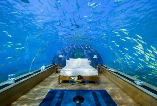 Yep, this is a real underwater hotel in  Pemba Island, Zanzibar. It's called the Manta Resort. And for a cool $1,500 a night, it can be yours!